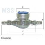 """มิเตอร์น้ำ มาตรวัดน้ำ สเตนเลส -MSS- 3/4"""" ประปา"""
